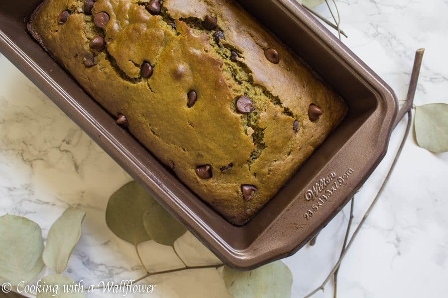 Matcha Green Tea Chocolate Chip Bread - Cooking with a Wallflower
