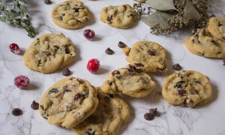 Soft, chewy dark chocolate chunk cookies, filled with dried cranberries. These cranberry dark chocolate chunk cookies are delicious and perfect for the holidays | Ask Anna
