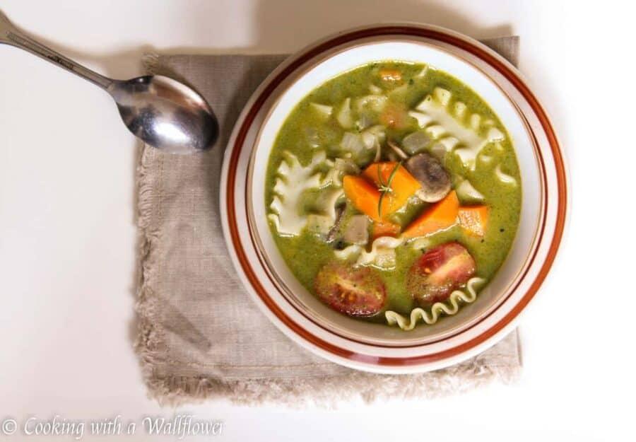 Creamy Pesto Vegetable Lasagna Soup | Ask Anna
