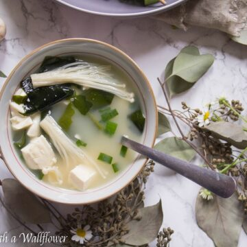 Savory miso soup cooked with seaweed, tofu, and mushrooms. This mushroom miso soup is simple, delicious and comforting. | Ask Anna