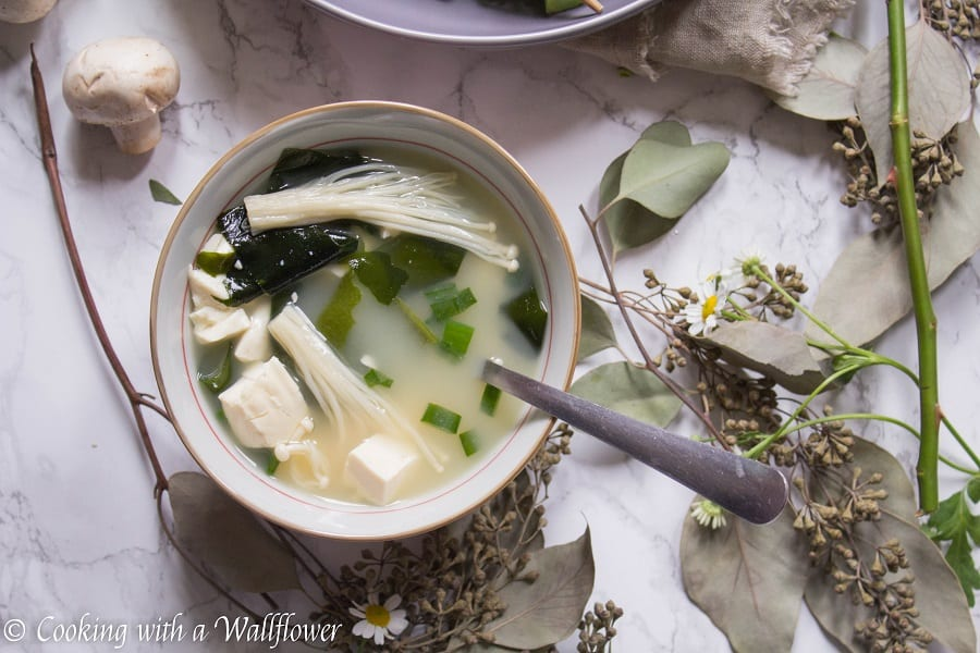 Savory miso soup cooked with seaweed, tofu, and mushrooms. This mushroom miso soup is simple, delicious and comforting.   Ask Anna