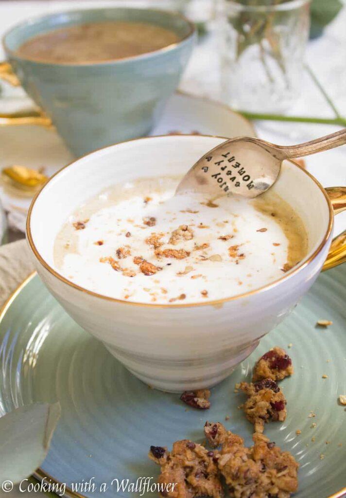 Maple Pumpkin Almond Oatmeal Latte | Ask Anna